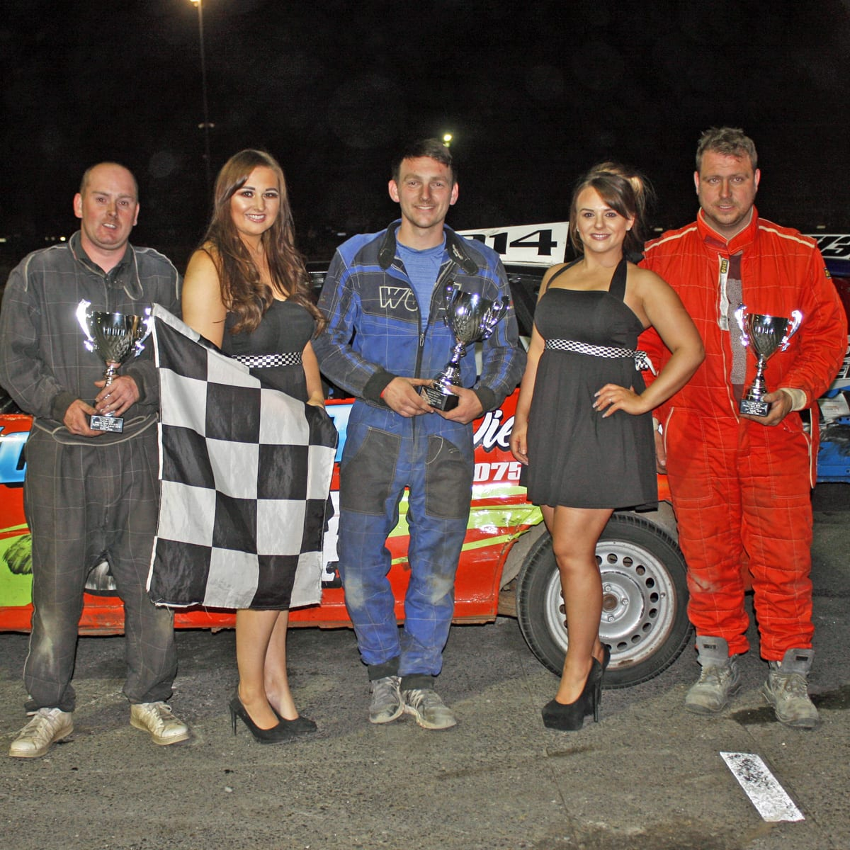 Joshua McMullan (centre) won the Thunder Rod final at Tullyroan Oval on Saturday night with James Goldie (left) runner up and Ryan Campbell (right) in third