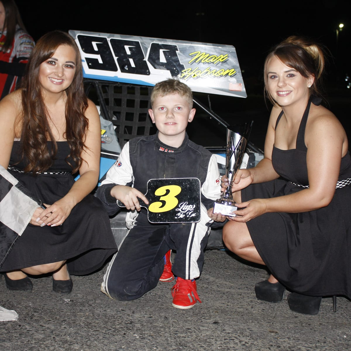 Max Hobson won all three races in the Ninja Karts at Tullyroan on Saturday night in a meeting sponsored by Ray McGrath Transport and Cherry Drainage Pipes
