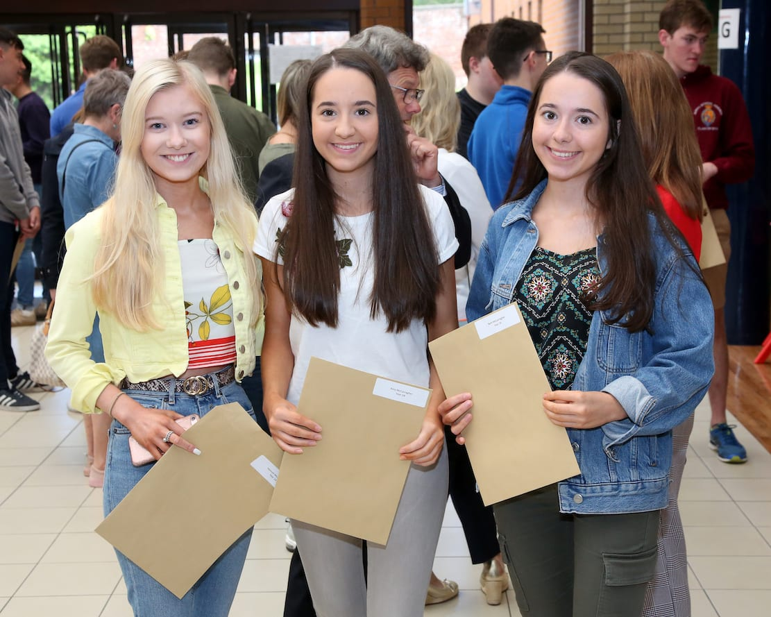 Hannah Monaghan with her cousins Amy and Beth McCarragher after receiving their excellent A Level results.