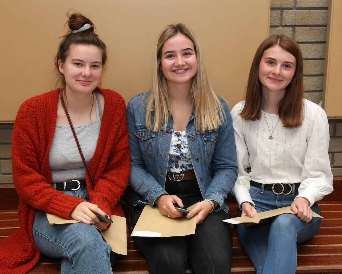 Three delighted A Level pupils Emma Herron, Sarah McMahon and Rebekah Wilson