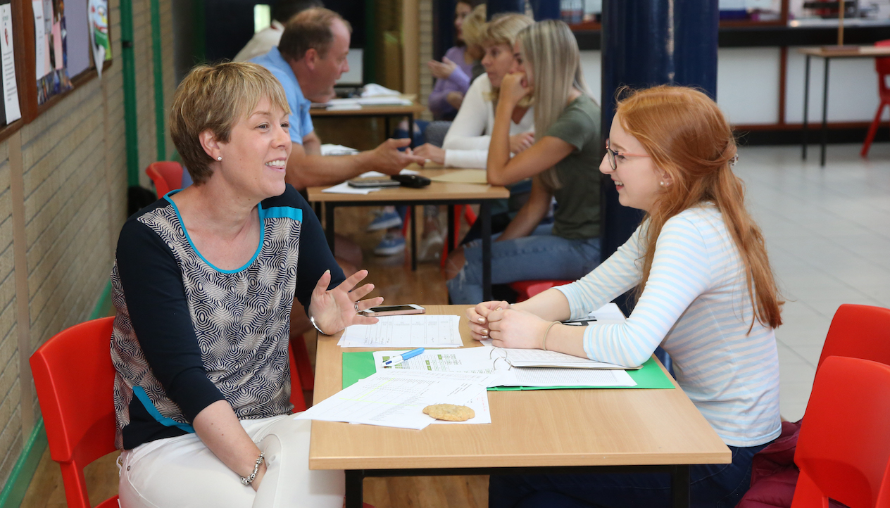 Senior Mistress, Mrs Montgomery, discusses the future with Madison Emerson after she gains 3 A*s at A Level