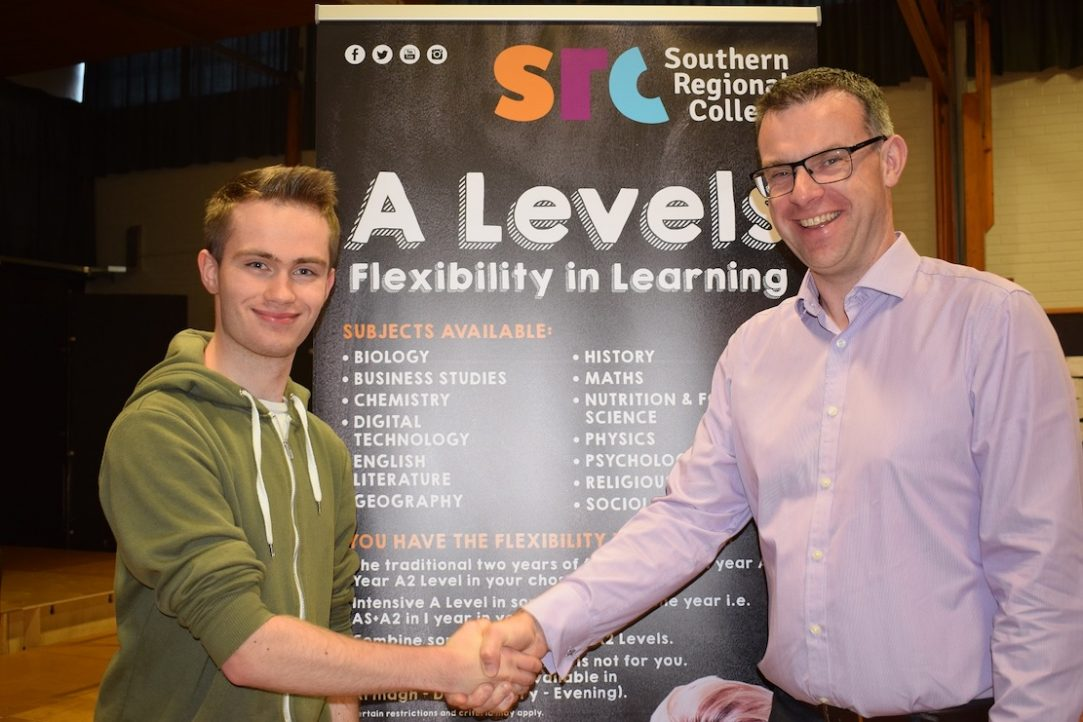 Joshua Harding achieved A*AB grades, pictured with SRC Deputy Head of School Henry McCloy