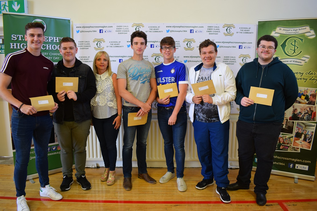 Eoghan McMahon, Conor Garvey, Mrs Millar - Principal, Barry McAllister, Aaron Mulholland, Vigo Jeksevics and Aaron Trimble
