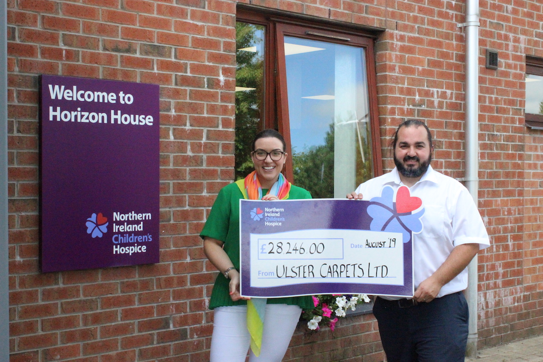 Pictured (L-R): Jonathan Lamberton, Corporate Engagement Executive for NI Children's Hospice and Victoria Jackson, Marketing Executive,Ulster Carpets.