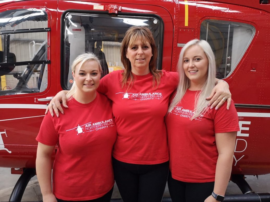 Pictured are Jim's daughters Diane Murdoch and Kerri Russell as well as their mum and Jim's wife, Linda Russell.