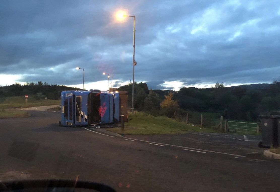 Lorry overturned Newry
