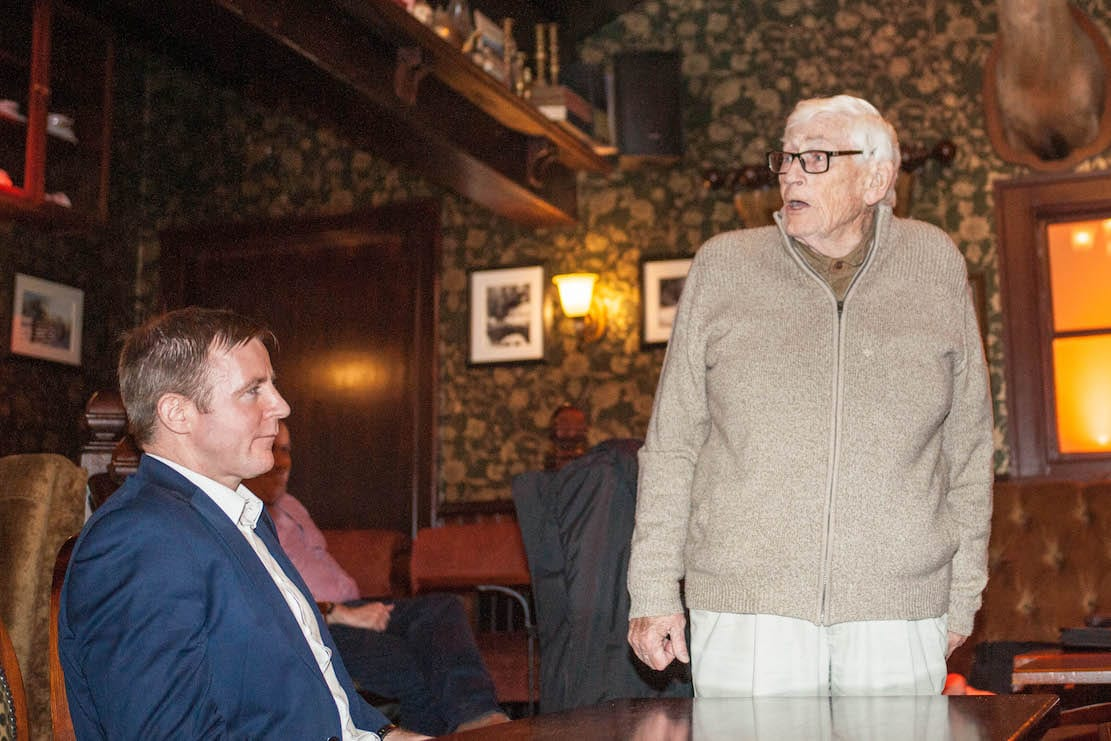Seamus Mallon with Justin McNulty looking on. Photo by Emma