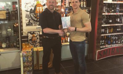 DrinkApp's operations manager James Freeman (right) and Adrian Cassidy, off-licence manager for Occasions, Centra in Keady