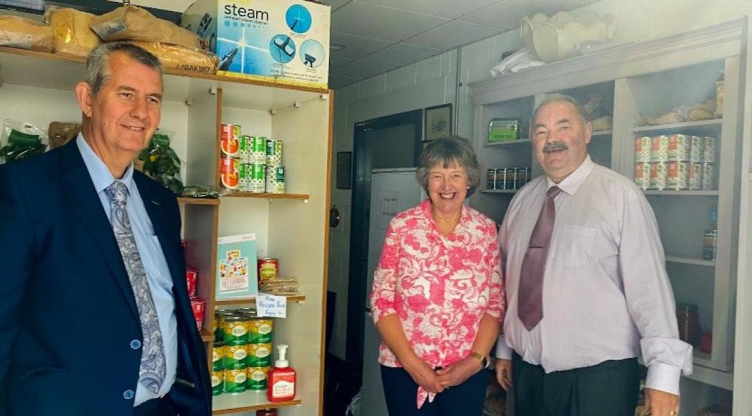 Edwin Poots with Pauline and Ian Bothwell of the Crossfire Trust
