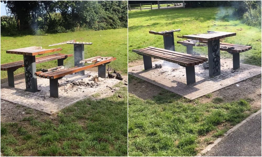 Hoys Meadow bench fire