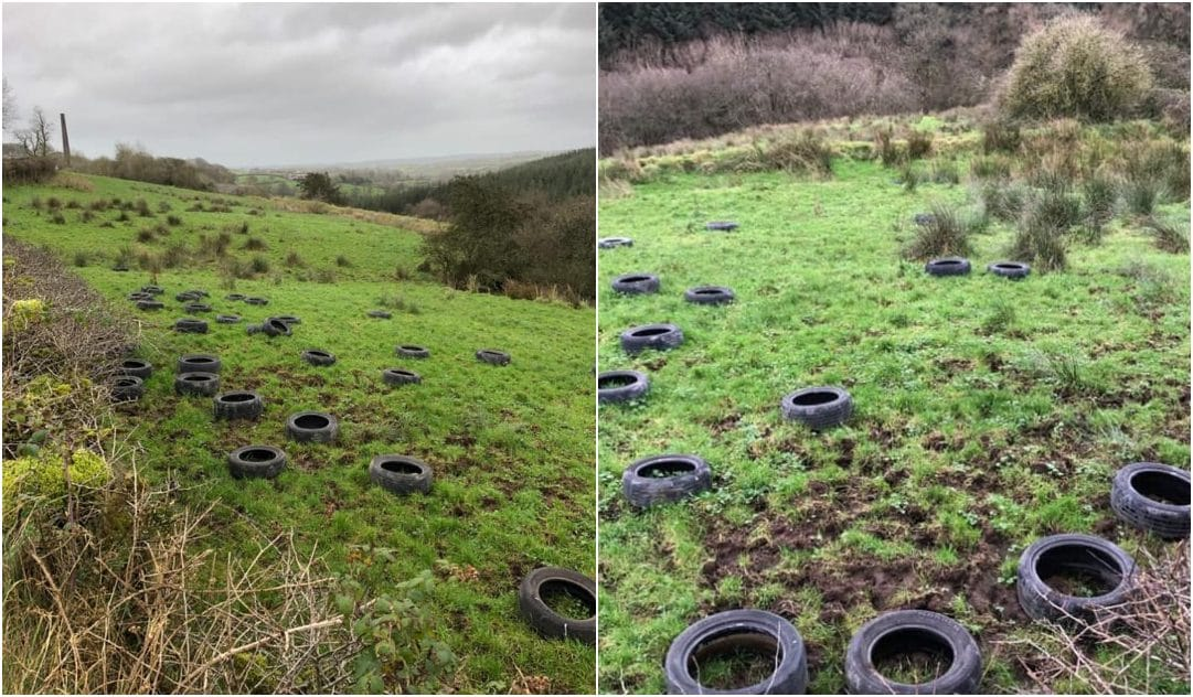 Dumping tyres in Darkley