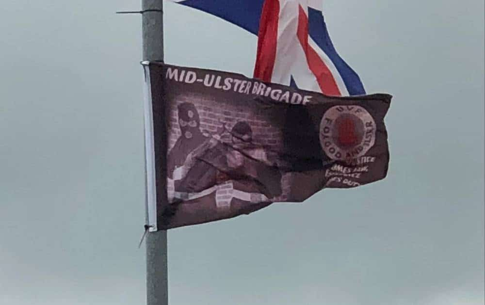 Paramilitary flags in Markethill